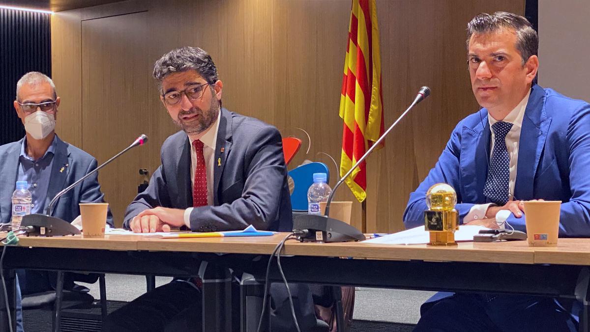 Ferrer, Puigneró e Ivanov, durante la presentación de la apuesta de DE-CIX en Barcelona.
