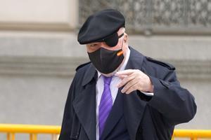 El excomisario Villarejo llega a la Audiencia Nacional, el 4 de marzo, después de ser puesto en libertad.