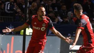 Víctor Vázquez celebra un gol en la MLS con el Toronto.