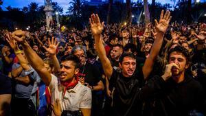 Concentración en protesta por la sentencia del 'procés', el 18 de octubre del 2019.