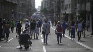 La Via Laietana de Barcelona, durante el Día sin coches.
