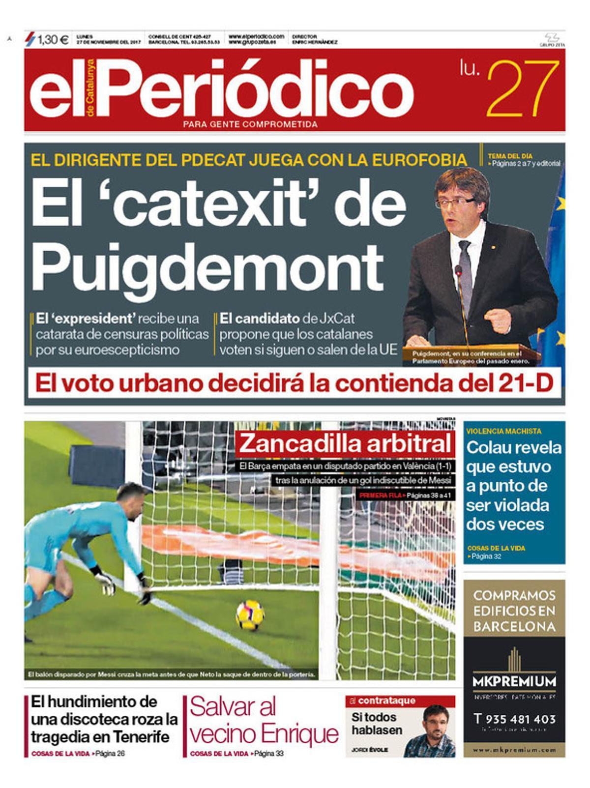 La portada de EL PERIÓDICO del 27 de noviembre del 2017.