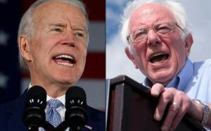 Los candidatos presidenciales demócratas Joe Biden (izquierda)y Bernie Sanders.