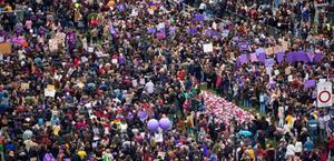 Vista aérea de la manifestación del pasado 8-M en Madrid.