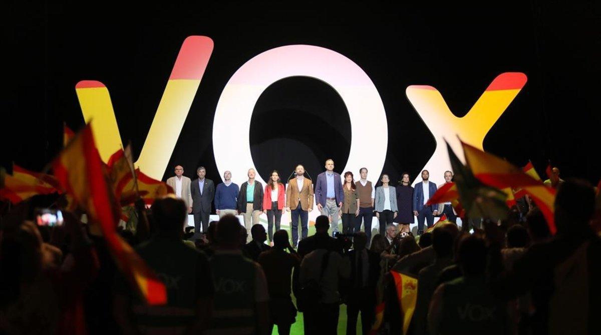 Mitin de Vox el 7 de octubre de 2018 en el palacio de Vistalegre de Madrid, elgran acto de presentaciónantes de las elecciones andaluzas de diciembre.