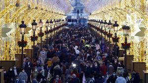 Inauguración de las luces navidenas en la centrica calle Larios de Malaga.