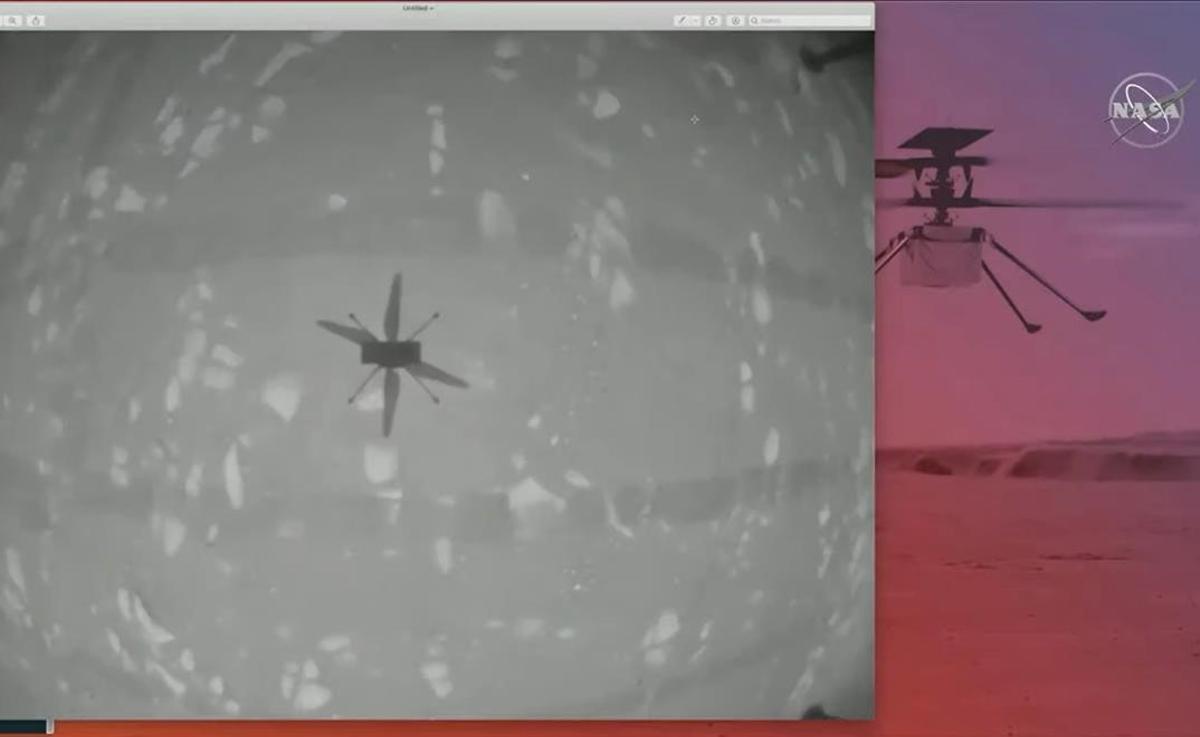 El Ingenuity de la Nasa vuela sobre Marte.