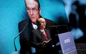 El presidente de Prensa Ibérica y el Grupo Zeta, Javier Moll, durante la apertura de la conferencia anual de AMI en Madrid.