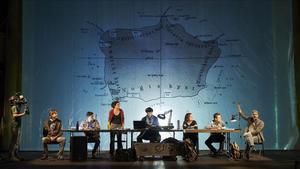 'Bouvetøya', isla convertida en símbolo en esta obra a la que da título, aparece proyectada en una gran pantalla en un momento de la representación.