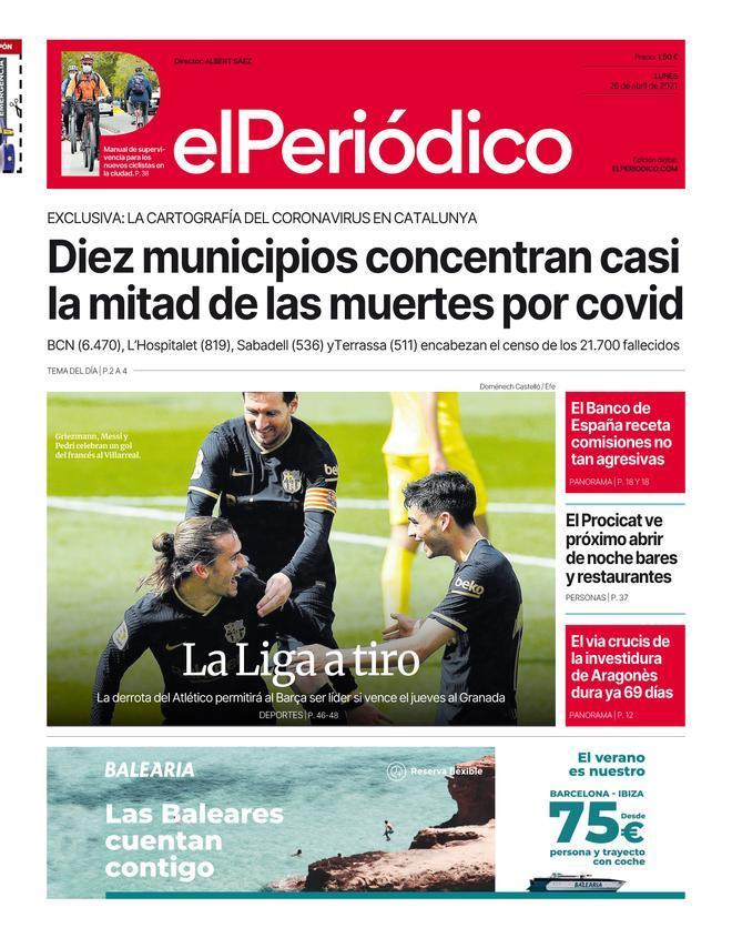 La portada de EL PERIÓDICO del 26 de abril de 2021