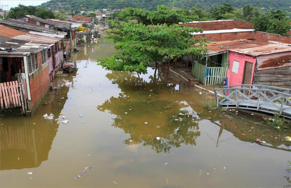 Inundaciones en Nicaragua causadas por el paso de un huracán.