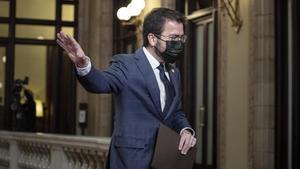 Pere Aragonès al finalizar el debate.