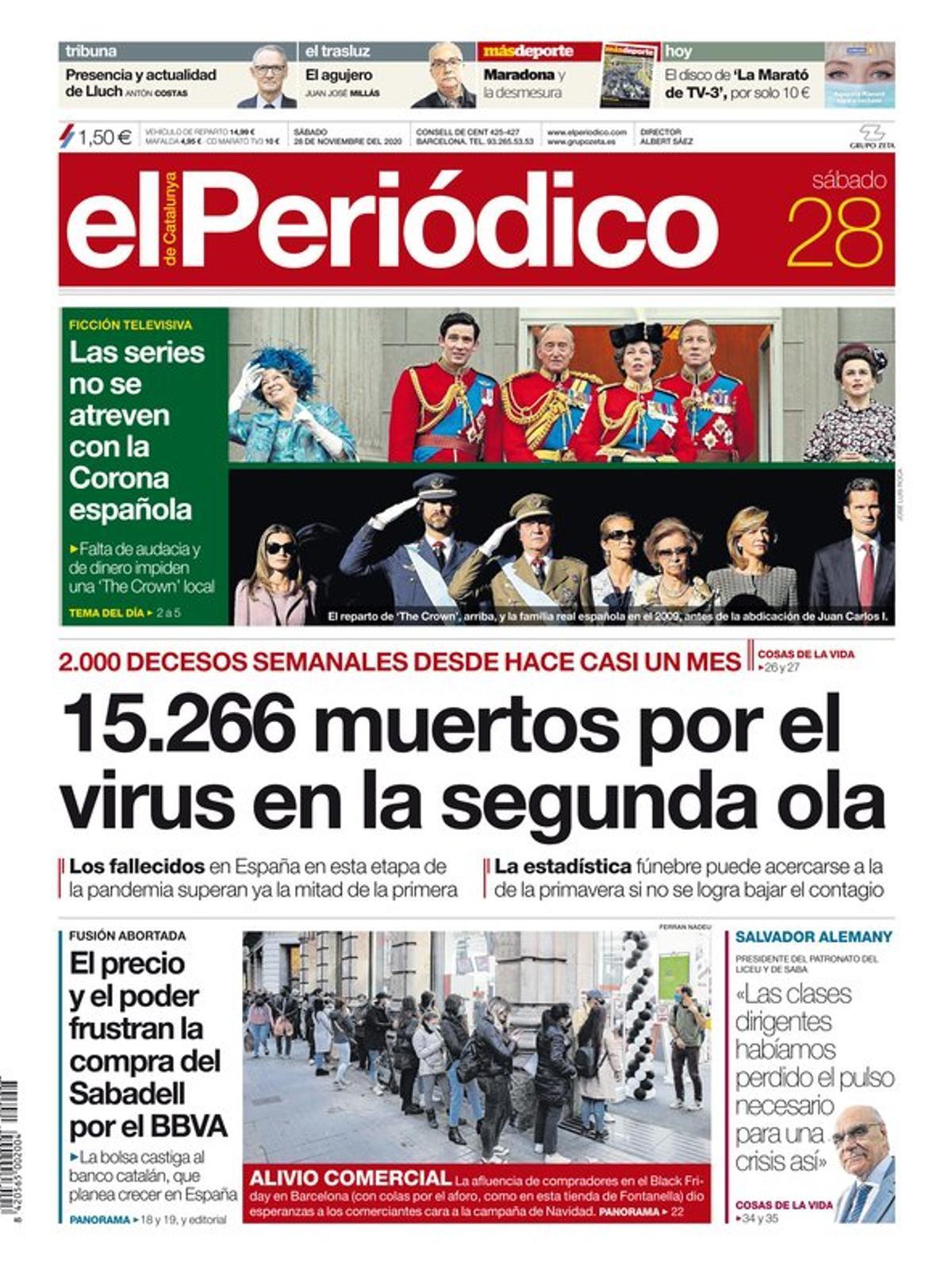 La portada de EL PERIÓDICO del 28 de noviembre del 2020.