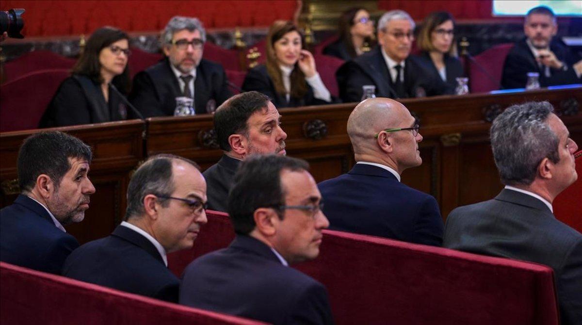 Jordi Sànchez,Jordi Turull, Josep Rull y Oriol Junqueras durante el juicio del 'procés' en el Tribunal Supremo.