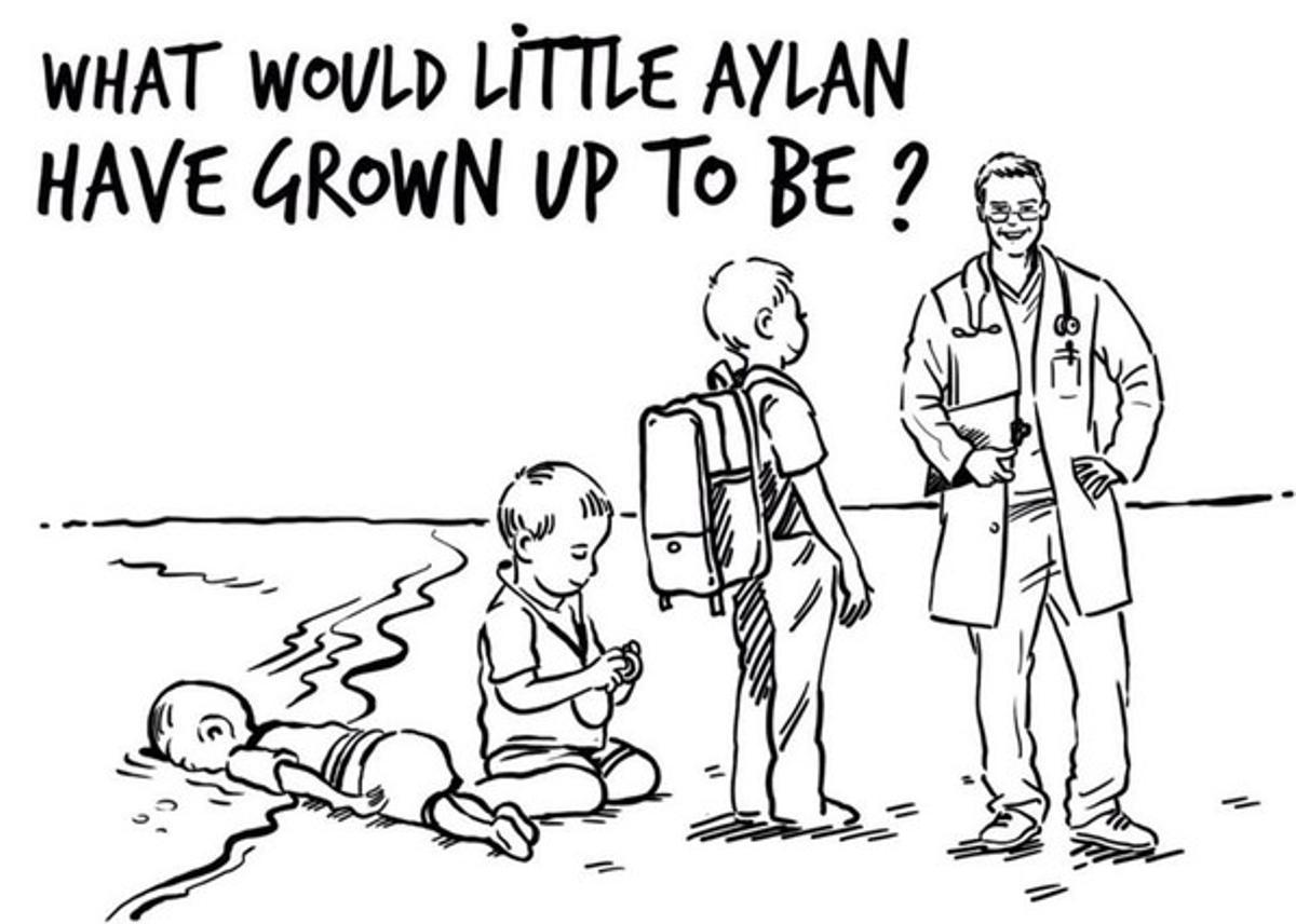 Caricatura en que, a la burla de 'Charlie Hebdo' que auguraba que Aylán de mayor sería acosador, el dibujante Osama Hajjajresponde que el niño ahogado, de no haber fallecido, se hubiera convertido en un médico.