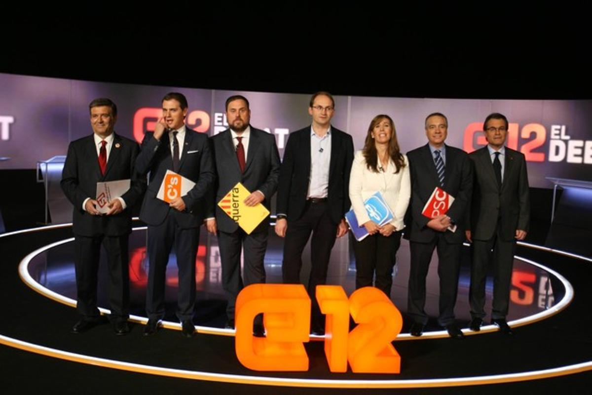 Los candidatos catalanes, momentos antes de empezar el debate en TV-3.