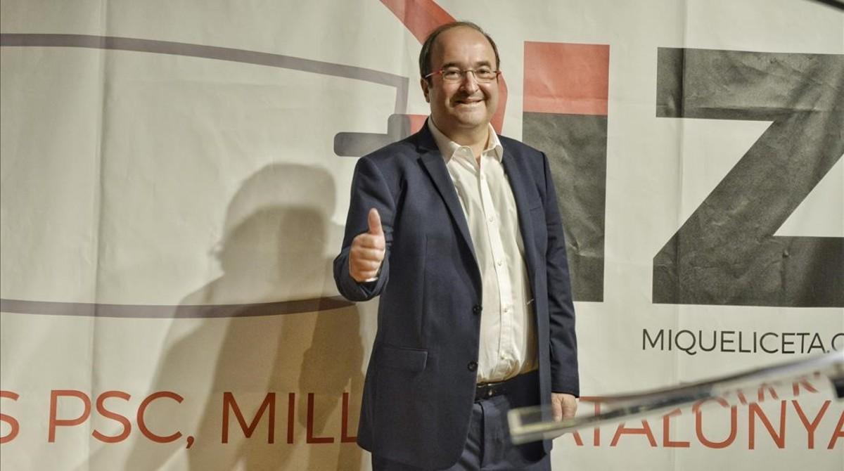 El primer secretario del PSC, Miquel Iceta, en el acto de presentación de su candidatura a las primarias, en Barcelona.