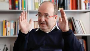 Entrevista a Miquel Iceta en la sede del PSC.