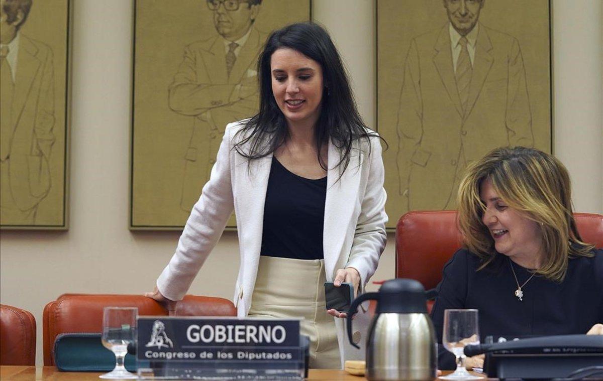 La ministra de Igualdad, Irene Montero, durante su comparecencia en el Congreso.