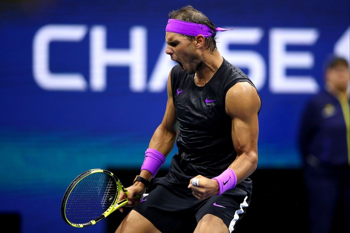NEW YORK, NEW YORK - SEPTEMBER 02: Rafael Nadal of Spain celebrates a point during his Men's Singles fourth round match against Marin Cilic of Croatia on day eight of the 2019 US Open at the USTA Billie Jean King National Tennis Center on September 02, 2019 in Queens borough of New York City.   Clive Brunskill/Getty Images/AFP
