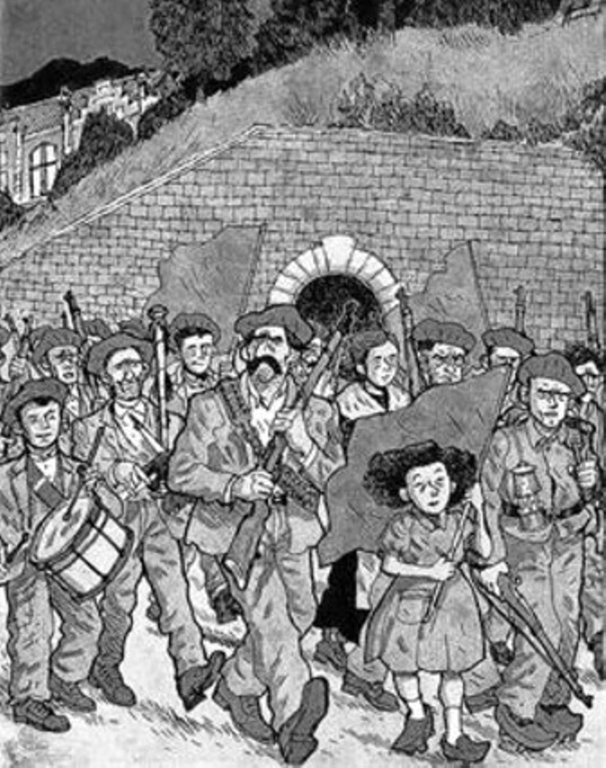 Viñetas de 'La balada del Norte' que muestran la insurrección (izquierda) y escenas de la rutina en el interior de la mina y del drama tras un accidente en el interior del pozo.