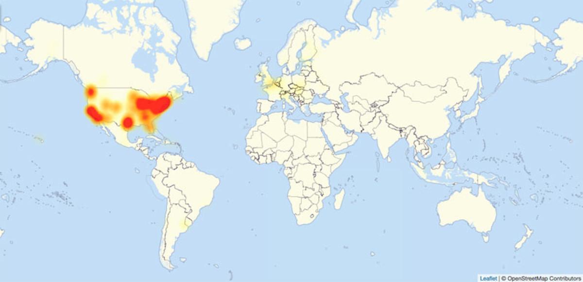 Mapa de la web especializada Downdetector con las zonas afectadas por el ciberataque masivo.