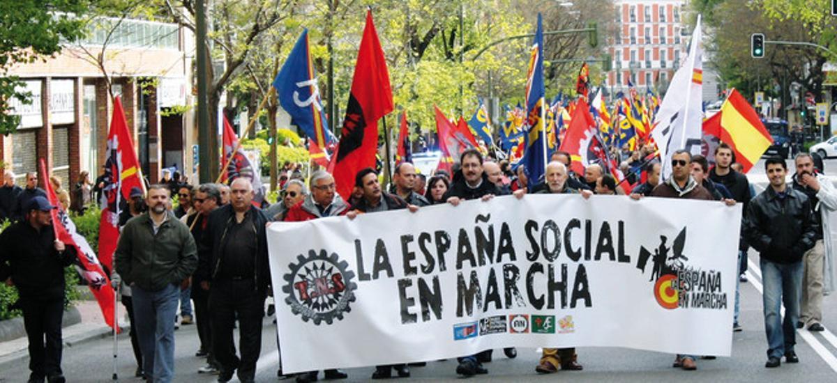 Pancarta unitaria de La España en Marcha, en el último 20 de noviembre celebrado en Madrid.