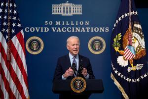 El presidente estadounidense Joe Biden, en el acto para celebrar las 50 millones de vacunaciones contra el coronavirus.