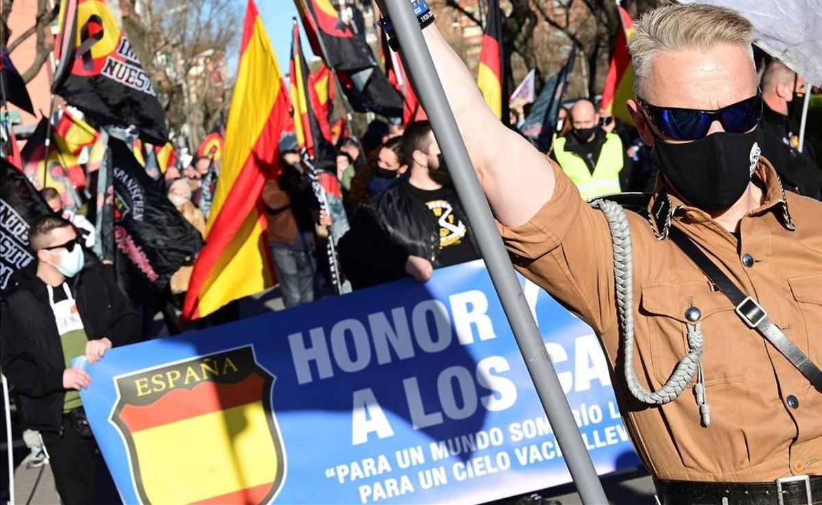 Marcha neonazi en homenaje a los caídos de la División Azul en Madrid, el sábado 13 de febrero del 2021.