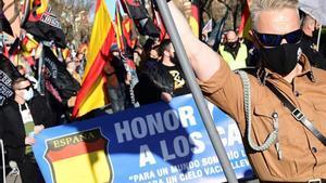 Marcha neonazi en homenaje a los caídos de la División Azul, el sábado 13 de febrero en Ciudad Lineal, Madrid.