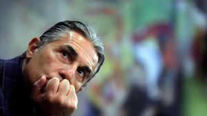 Sergio Scariolo, en un momento del acto de su renovación con la selección española