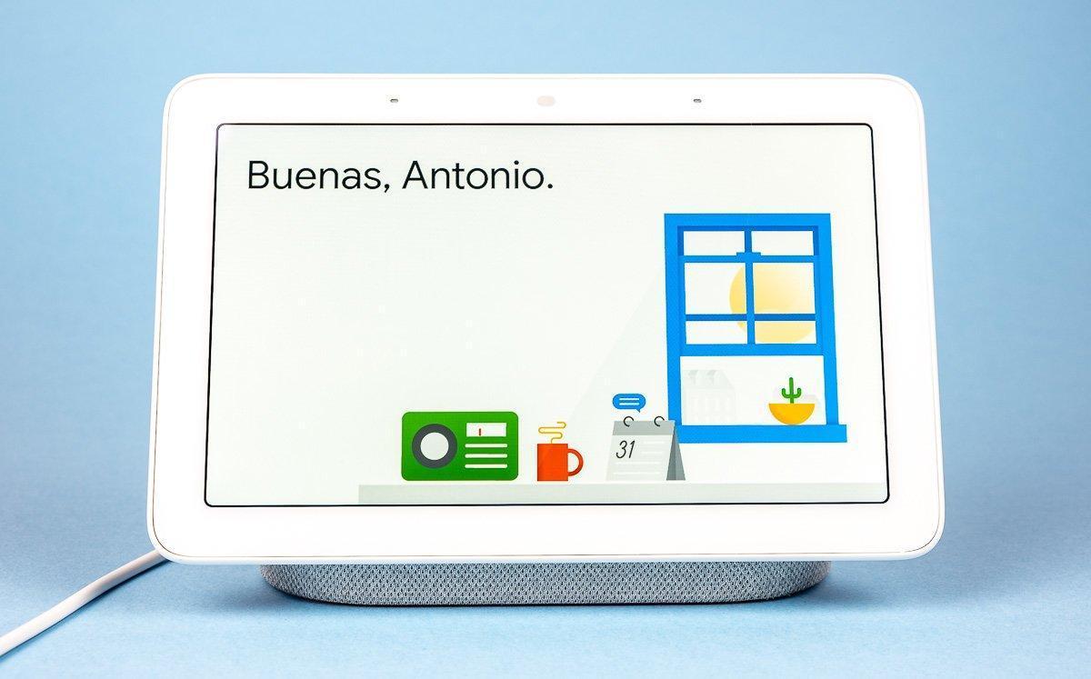 Google Nest Hub, pantalla de bienvenida a usuario.