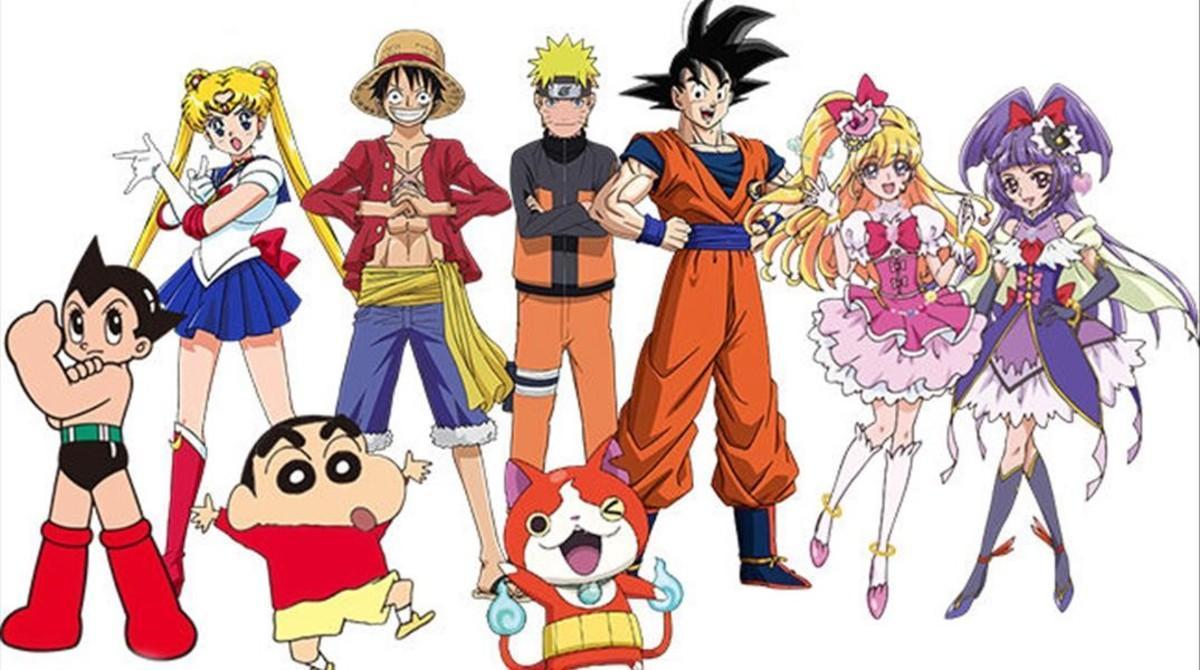 De izquierda a derecha, Astro Boy, Sailor Moon, Shin Chan, Luffy ('One Piece'), Naruto, el gato Jibanyan ('Yo-Kai Watch'), Son Goku y las Maho Girls Precure, embajadores de los Juegos Olímpicos de Tokio 2020.