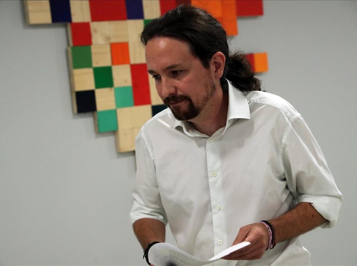El líder de Podemos, Pablo Iglesias, valora el desarrollo de la consulta del 1-O.