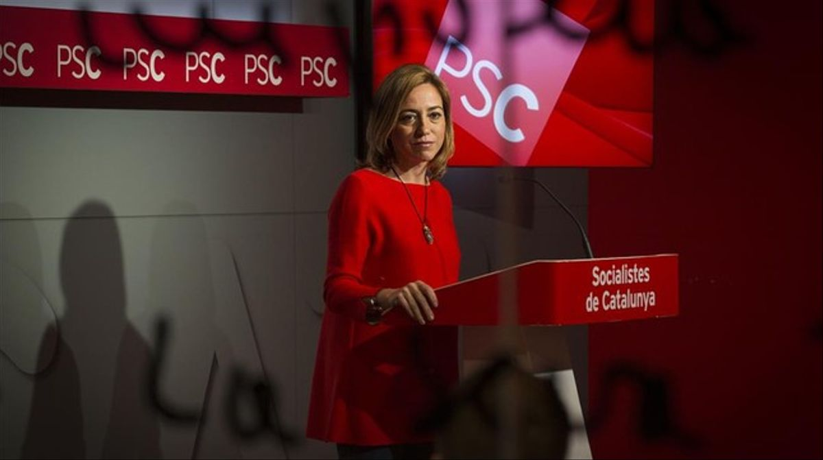 La dirigente del PSC Carme Chacón en rueda de prensa.