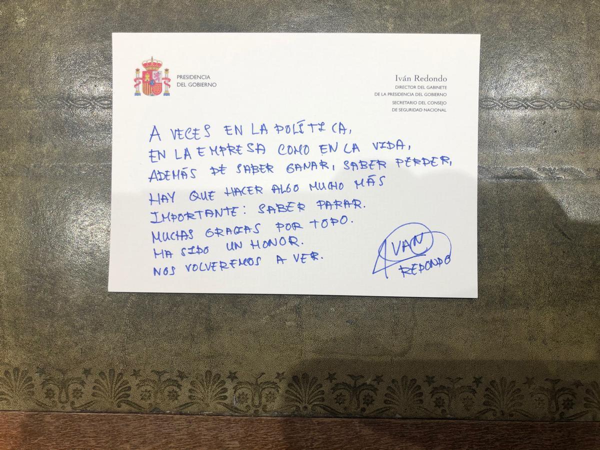Mensaje de despedida de Iván Redondo, hasta ahora jefe de Gabinete de Sánchez.