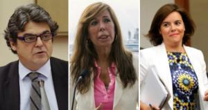 Jorge Moragas, Alicia Sánchez-Camacho y Soraya Sáenz de Santamaría, tres de los dirigentes del PP que JxSí quiere que comparezcan en la comisión de investigación sobre la 'operación Cataluña'.