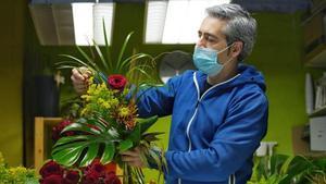 La floristería Les Flors, de Igualada, esta mañana.