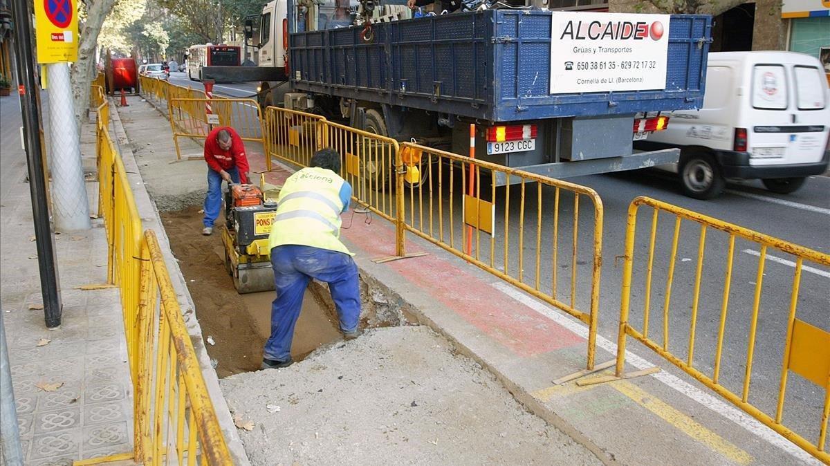 Obras entre las calles Lepant y paseo de Maragall.