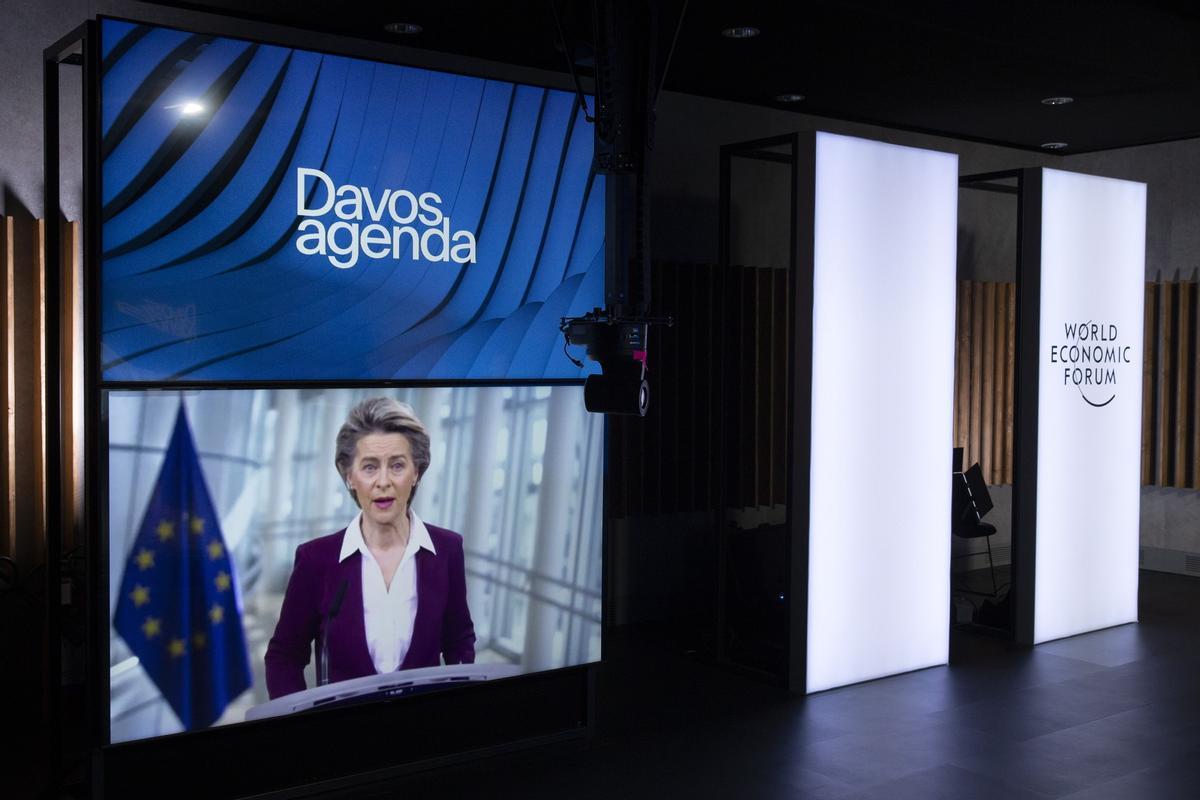 Ursula von der Leyen durante la videoconferencia en el Fórum Económico Mundial de Davos.