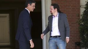 Pedro Sánchez y Pablo Iglesias, el pasado 7 de mayo en la Moncloa.