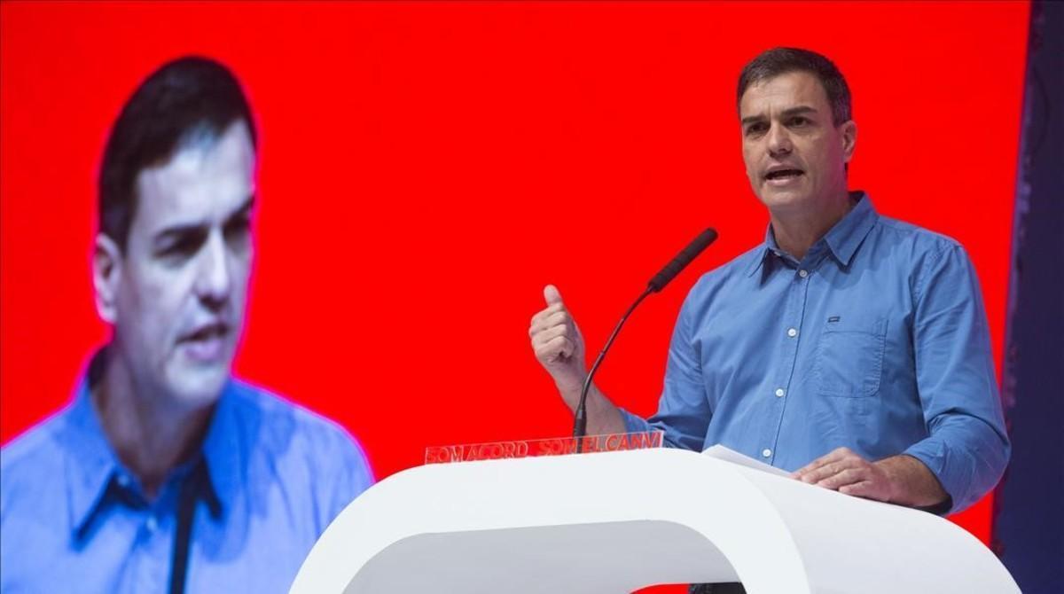 Pedro Sánchez, el pasado 15 de julio en Barcelona, durante la proclamación de Miquel Iceta como candidato del PSC.