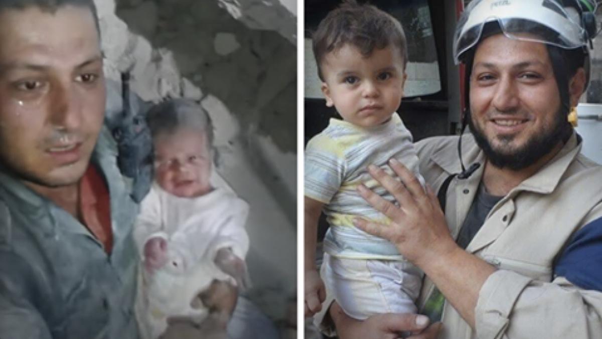 Jaled Omar en el momento en que rescató a un bebé de dos semanas de entre los escombros de un bombardeo.