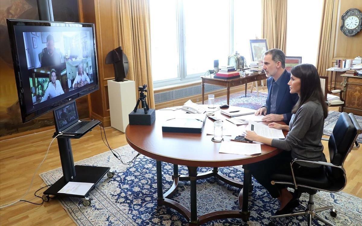 Reunión telemática de losReyes con JoséMercéDavid Bisbal y Miguel Poveda.