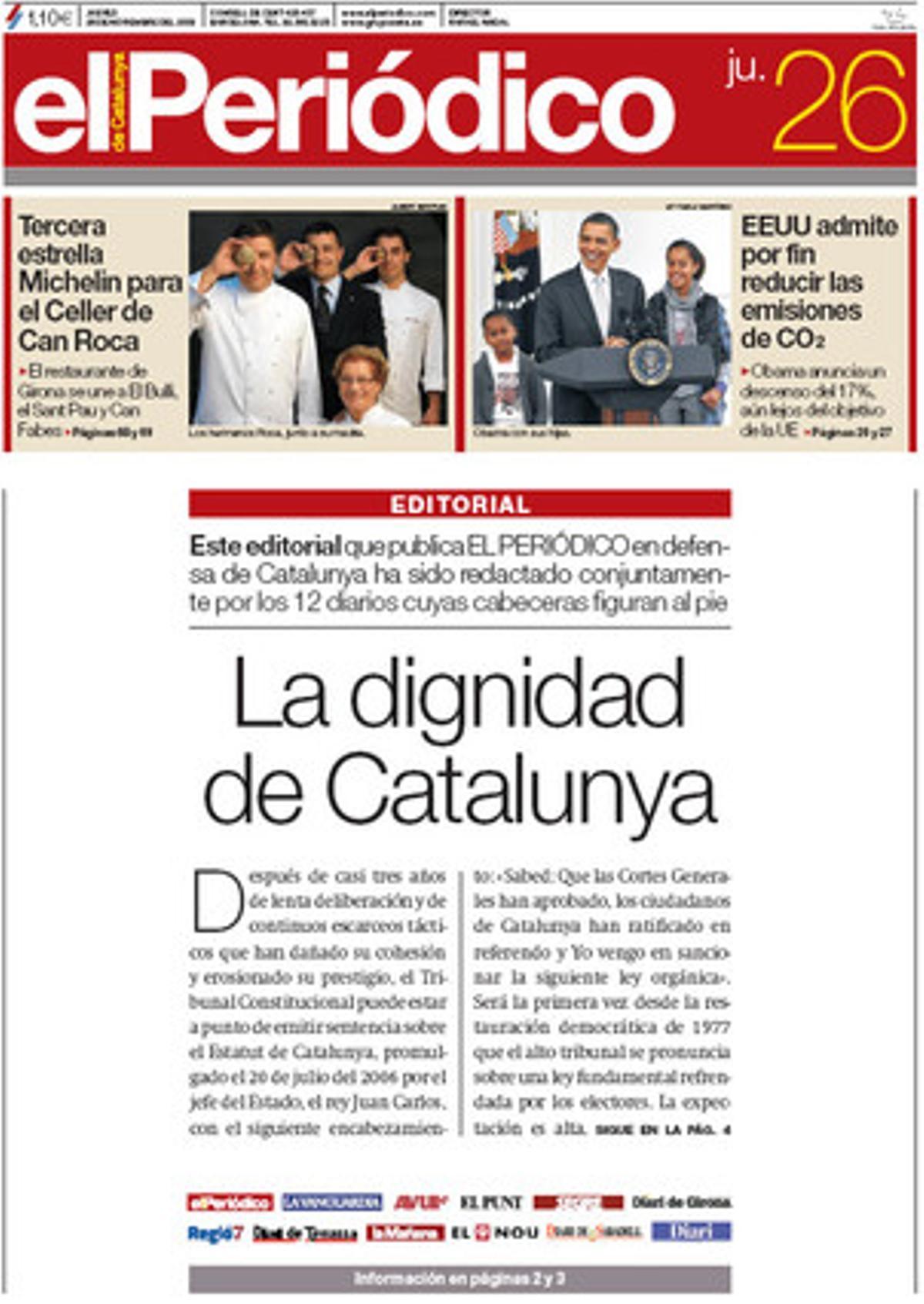 Portada del 26 de novembre del 2009, en què 12 diaris van publicar un editorial conjunt a favor de l'Estatut de Catalunya.