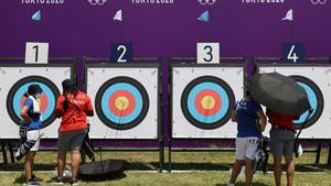 Ronda de clasificación individual femenina de tiro con arco.