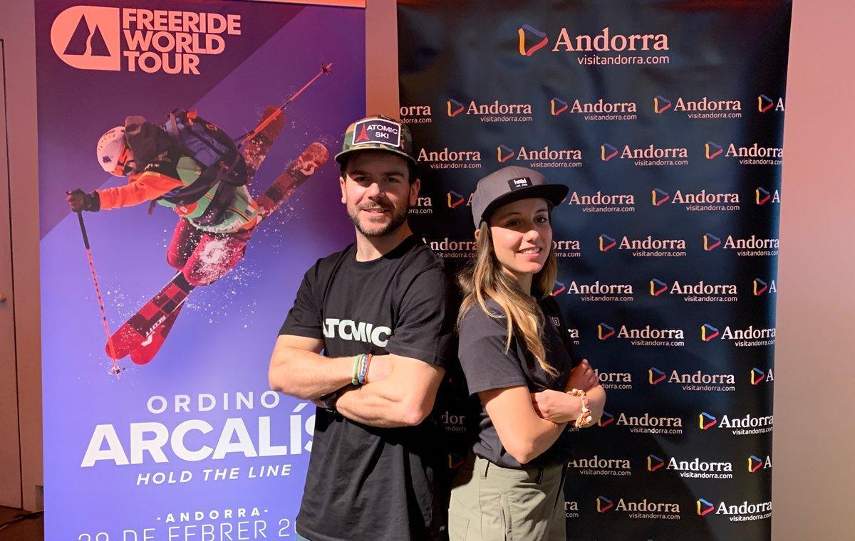 Aymar Navarro y Núria Castán en la presentación de la prueba andorrana del FWT.