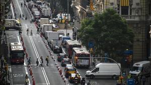 La Via Laietana, cortada parcialmente en el día sin coches del 2017.