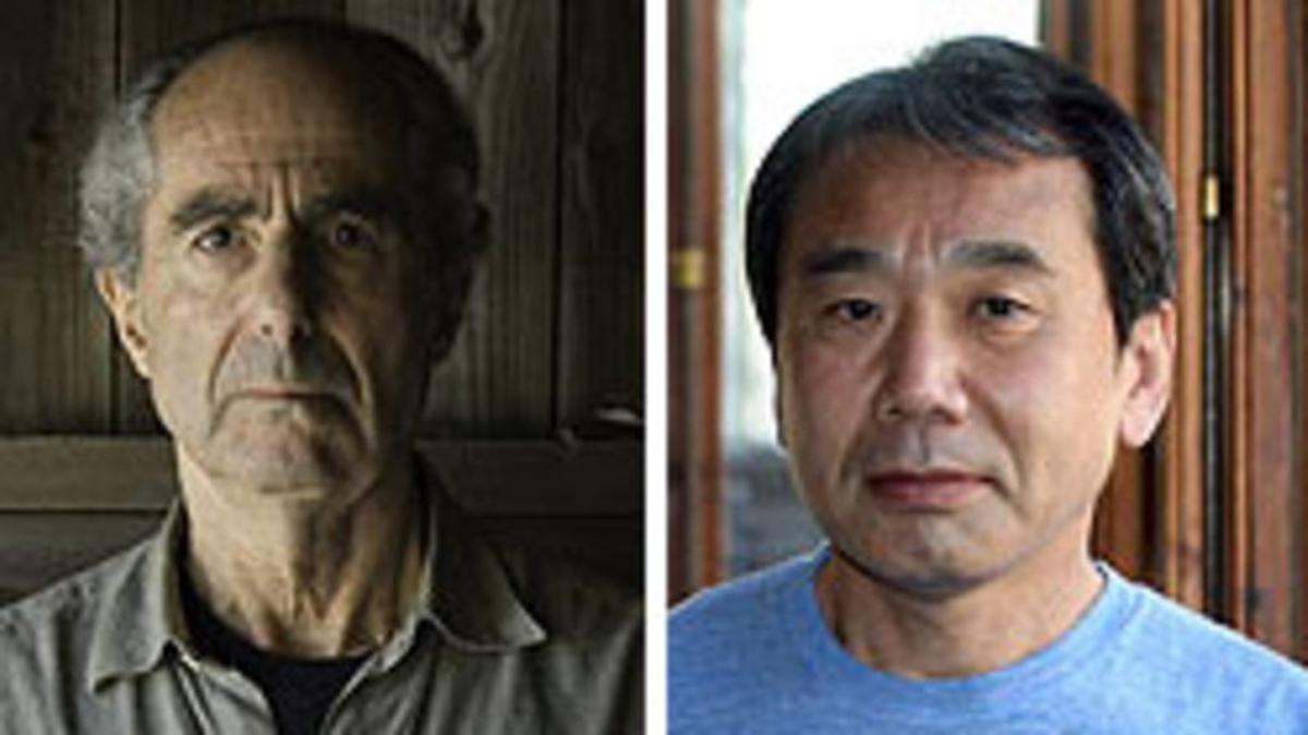Los escritores Philip Roth (izquierda) y Haruki Murakami.