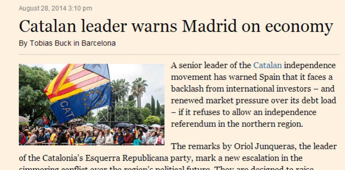 El artículo del 'Financial Times' sobre Junqueras.